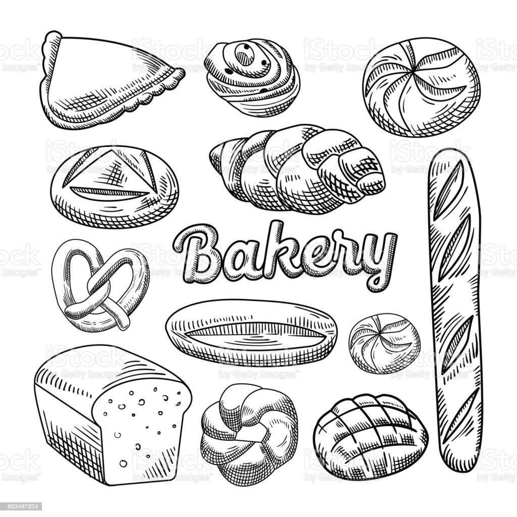 Pain boulangerie aliments dessinés à la main Doodle - Illustration vectorielle