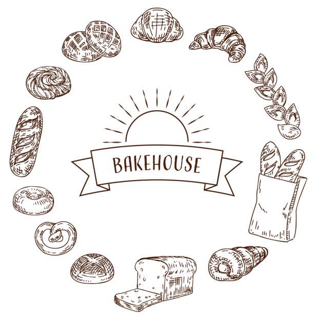 パン屋食品手描きイラストフレーム。 - 食パン点のイラスト素材/クリップアート素材/マンガ素材/アイコン素材