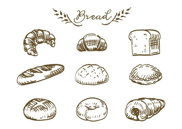 パン屋食品手描きイラストセット。 - 食パン点のイラスト素材/クリップアート素材/マンガ素材/アイコン素材