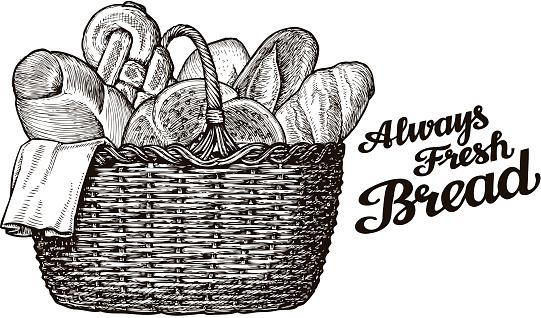 bread, bakery. hand drawn sketch of food. vector illustration
