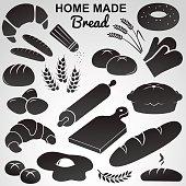 Bread, bakery icon set.