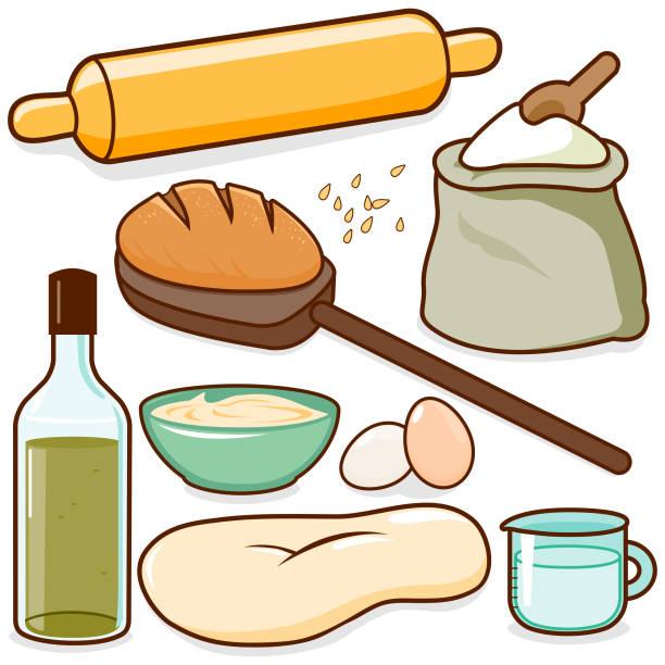 brot backen rezept zutaten - gluten stock-grafiken, -clipart, -cartoons und -symbole