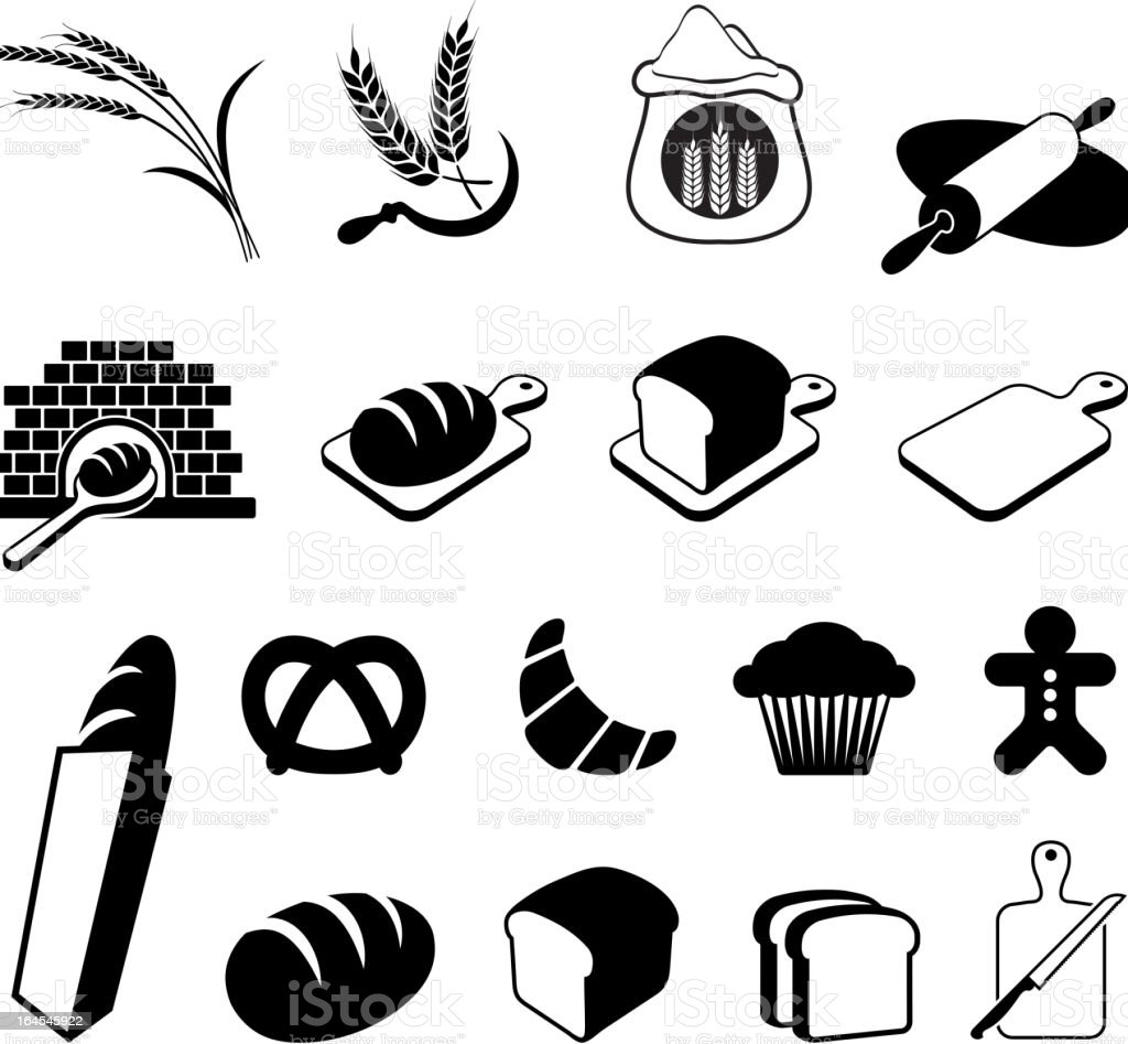 Bread black and white royalty free vector icon set vector art illustration