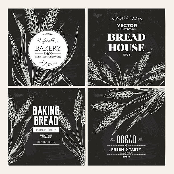 Bread blackboard design template collection. Vector illustration EPS 8 bread backgrounds stock illustrations
