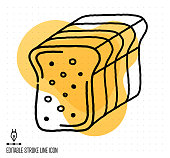 Hand drawn doodle icon for bread and butter to use as vector design element. Minimalistic symbol made in the style of editable line illustration.