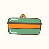Bread container. Vector illustration. Zero waste concept