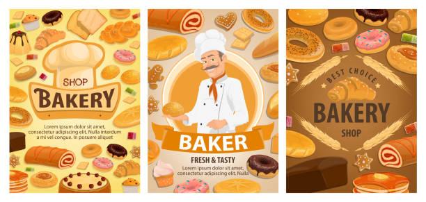 brot, croissant, kuchen, baguette, donut, bäcker - tiramisu stock-grafiken, -clipart, -cartoons und -symbole