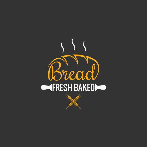 illustrazioni stock, clip art, cartoni animati e icone di tendenza di bread  design. bakery sign on black background - pane forno