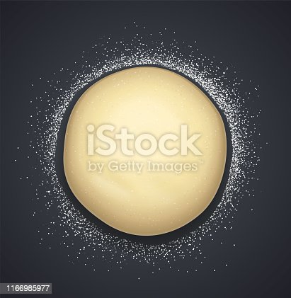 Bread dough with flour. Concept design for baking, pizza, cookie, biscuit. Dark background. Eps10 vector illustration.