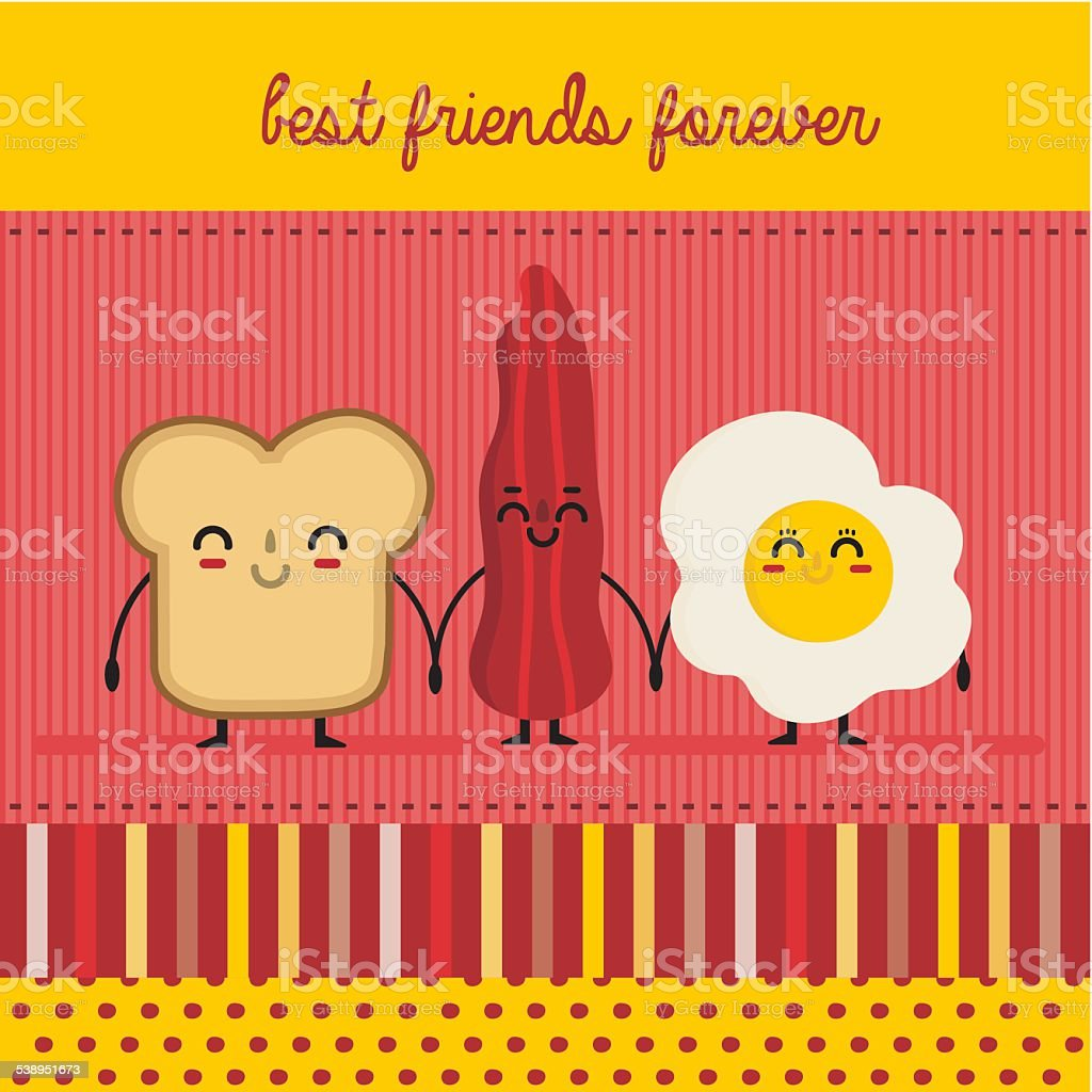 bread, egg and bacon vector art illustration