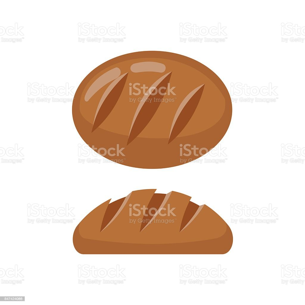 Bread flat icon isolated on white background vector art illustration
