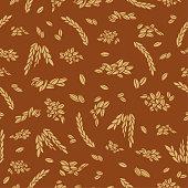 Bread grain seamless pattern outline silhouette