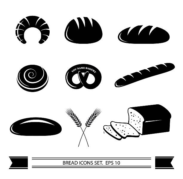 Bread icon set. Bread icon set and a banner with place for text. Vector illustration. bread silhouettes stock illustrations