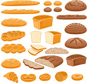 Bread icons set. Vector bakery pastry products - rye, wheat and whole grain bread, french baguette, croissant, bagel, roll, toast bread slices, donut, bun, loaf wicker bun