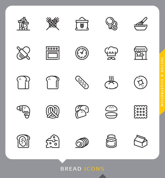 Bread icons The Bread Kitchen, Bread, Icon, Modern Line, Vector and Illustration bread icons stock illustrations