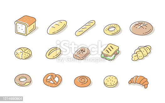 Bread and Buns Icons Set. Various Bakery Products Symbols. Baguette, Toast, Pretzel, Croissant and Other Variety of Bread. Cereal Bakery Signs Collection. Flat Line Cartoon Vector Illustration.