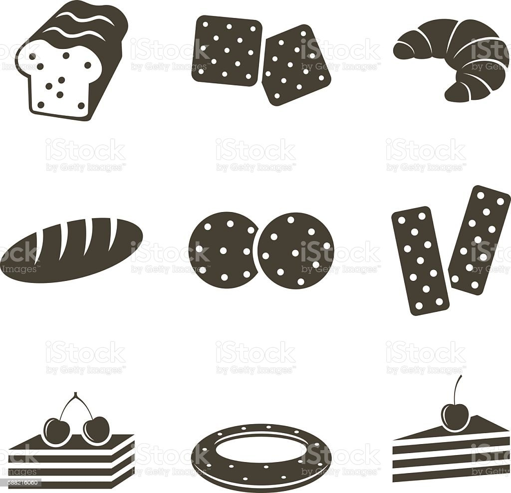 Bread icons vector art illustration