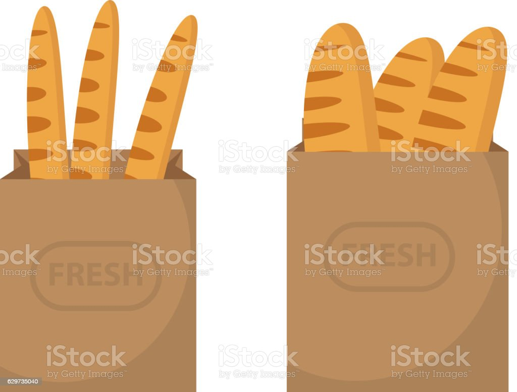 Bread in a paper bag. Loaf, Baguette in the papers - Illustration vectorielle