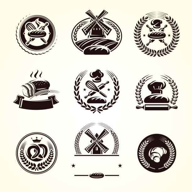 stockillustraties, clipart, cartoons en iconen met brood etiketten instellen. collectie pictogram brood. vector - bakery