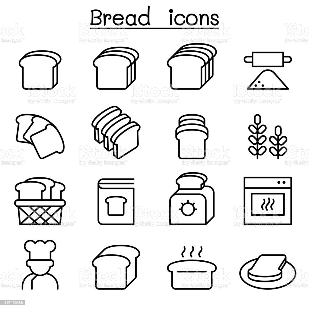 Bread, Loaf, Bakery & Pastry icon set in thin line style vector art illustration