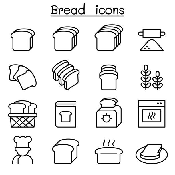 Bread, Loaf, Bakery & Pastry icon set in thin line style Bread, Loaf, Bakery & Pastry icon set in thin line style bread clipart stock illustrations