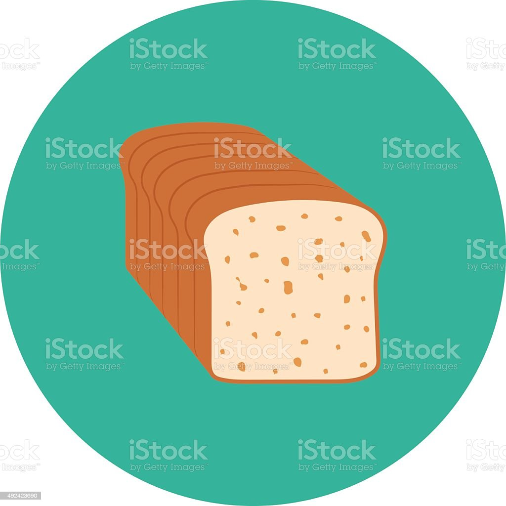 Bread Loaf Colored Vector Icon vector art illustration