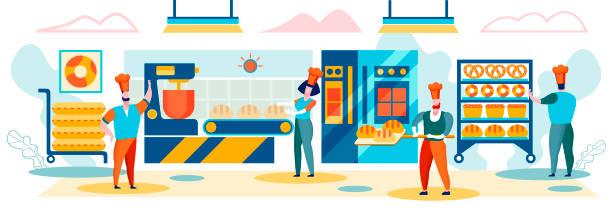 illustrazioni stock, clip art, cartoni animati e icone di tendenza di bread machinery production. industrial process - impastare