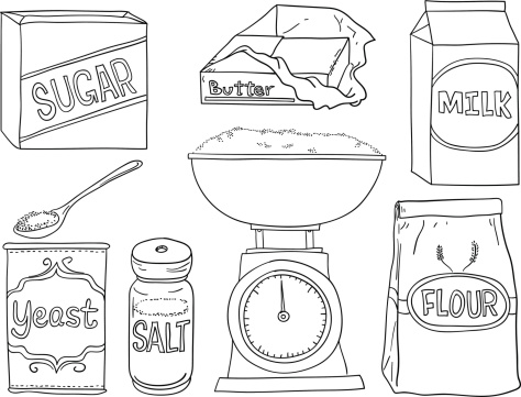 Bread making ingredients in line art style , black and white