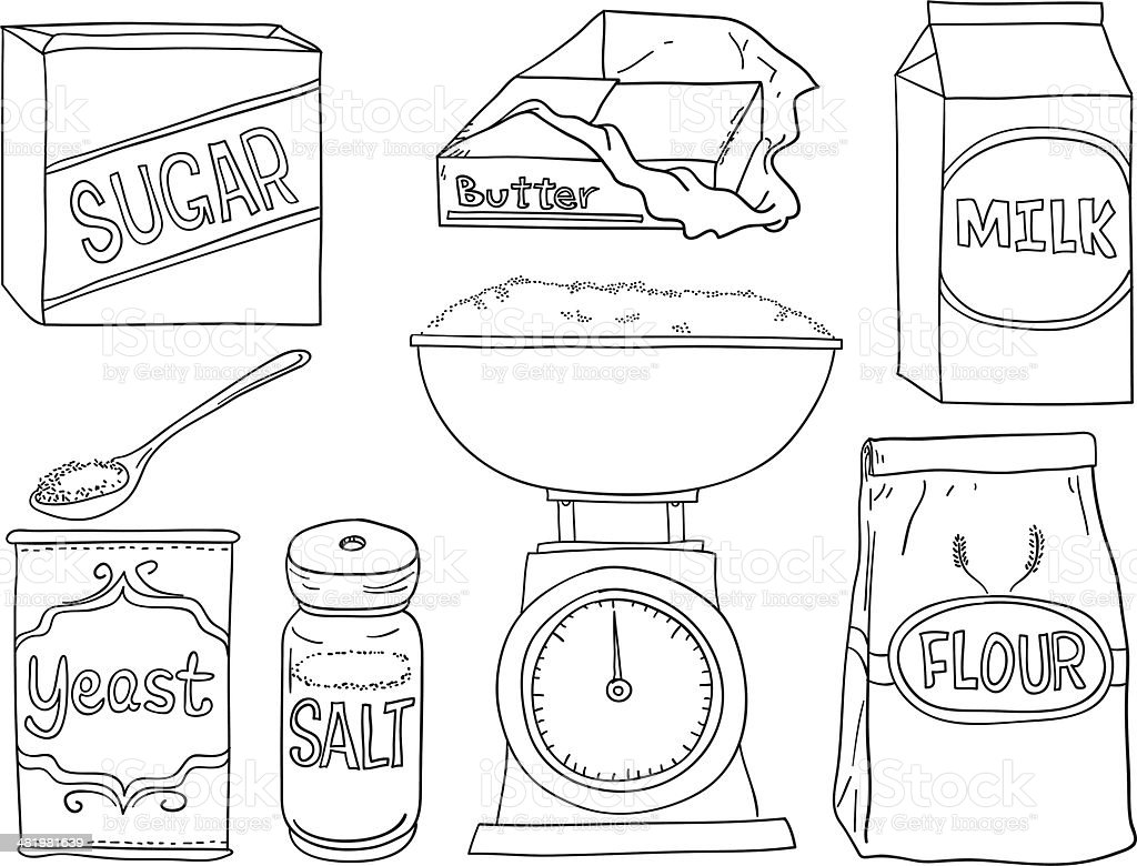 Bread making ingredients in black and white vector art illustration