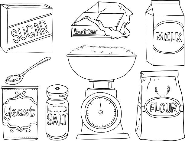 Bread making ingredients in black and white Bread making ingredients in line art style , black and white cooking black and white stock illustrations