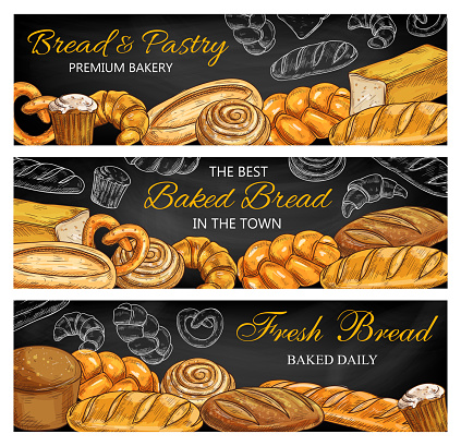 Bread, pastry food sketches on chalkboard banners