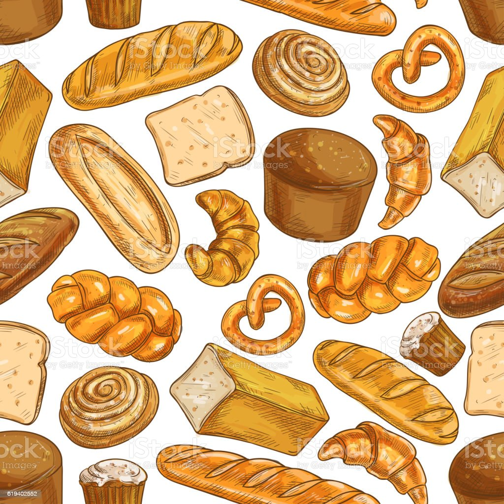 Bread Pattern Bakery Seamless Sketch Icons Stock ...