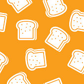 Vector illustration of bread in a repeating pattern against a golden background.