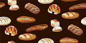Seamless Breads Pattern in Vector
