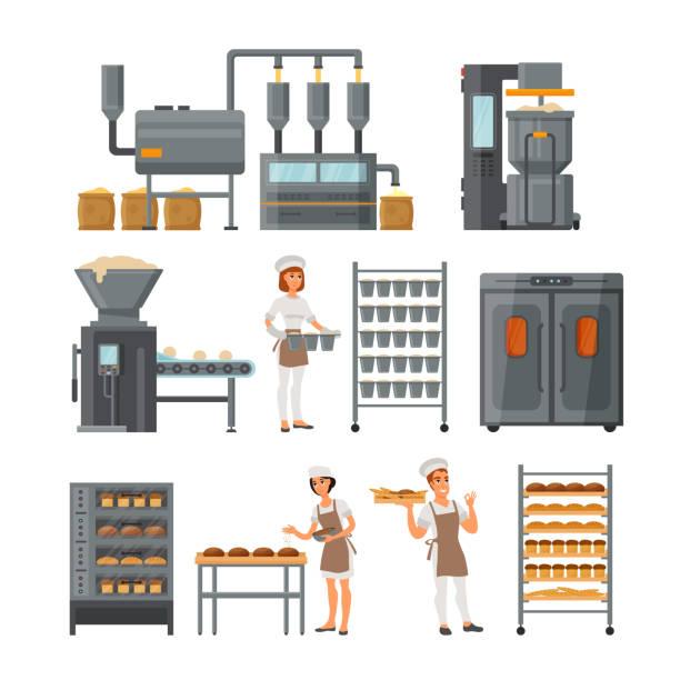 illustrations, cliparts, dessins animés et icônes de illustration vectorielle de jeu d'icônes de production de pain - boulanger