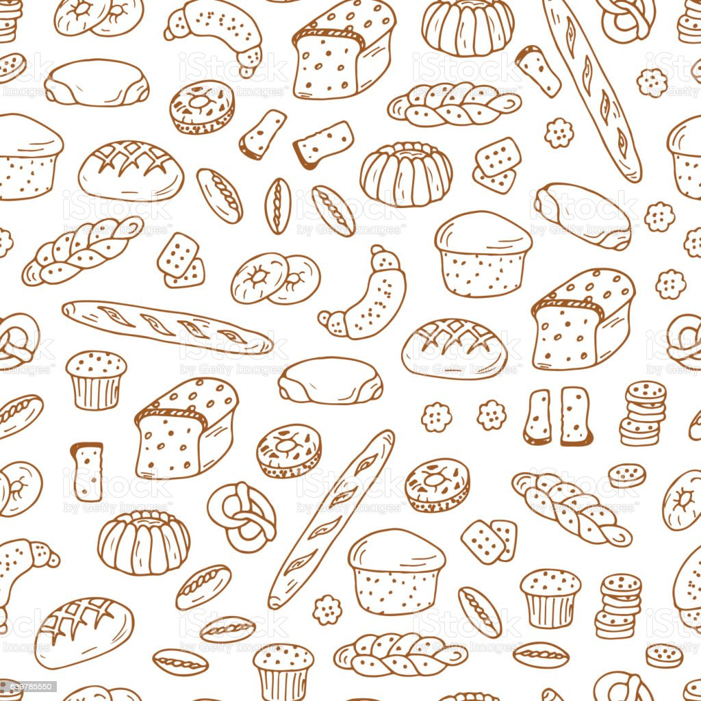 Bread Products Doodle Bakery And Wheat Ears Vector