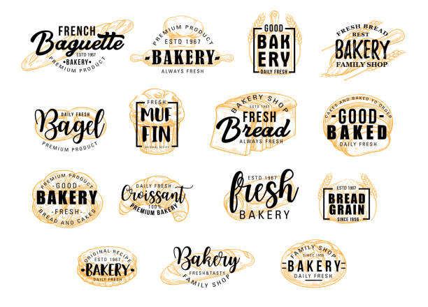Bread products icons with lettering. Bakery signs Bread and bakery products for dessert icons with lettering. Bagel and muffin, croissant and baguette silhouettes with signs for pastry food shop. Food of dough and flour badges vector isolated french culture stock illustrations