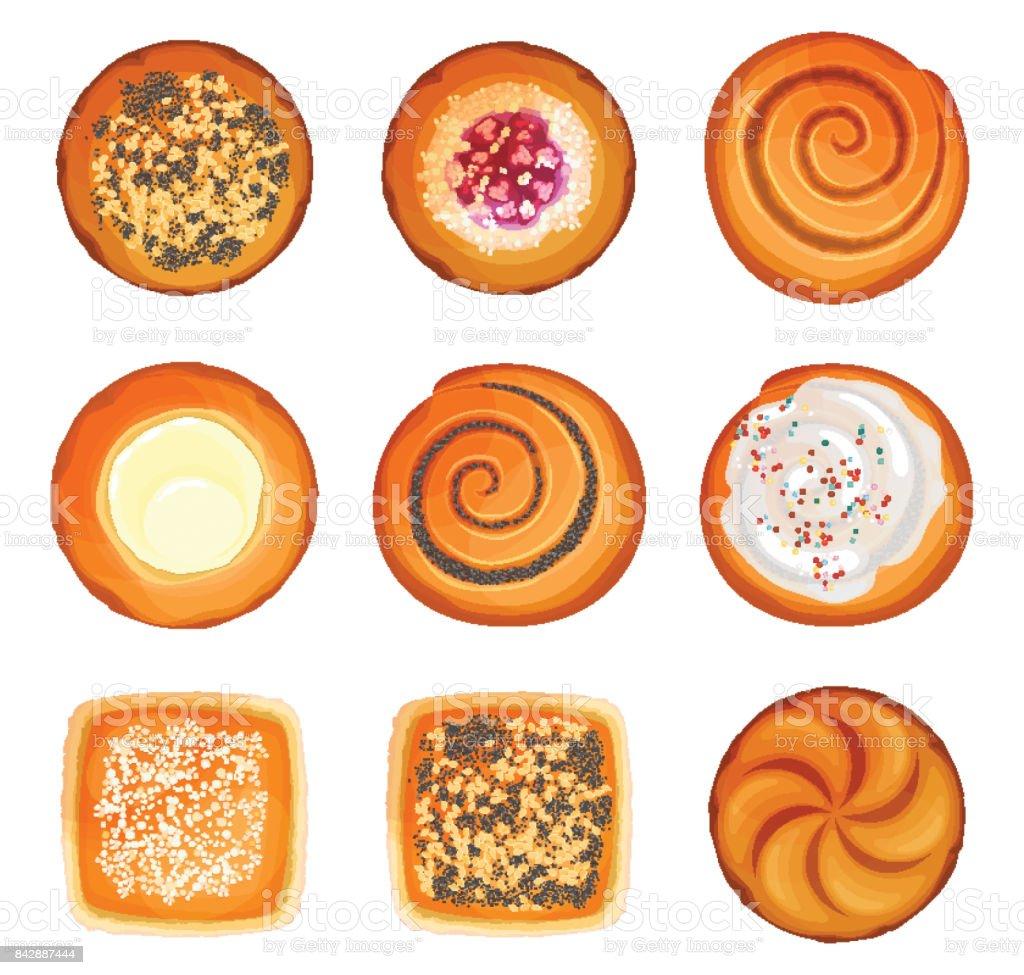 キャラメル砂糖胡麻丸パン ロールパンします イギリスのベクターアート