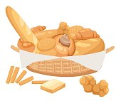 Bread set. Bakery and pastry products icons set with various sorts of bread, sweet buns, cupcakes, dough.Bread set. Bakery and pastry products icons set with various sorts of bread, sweet buns, cupcakes, dough.