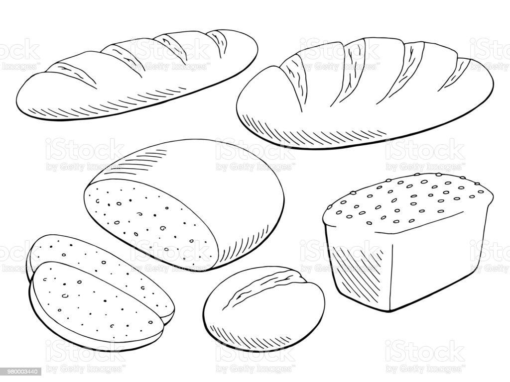 brood instellen grafisch zwart witte geïsoleerde voedsel