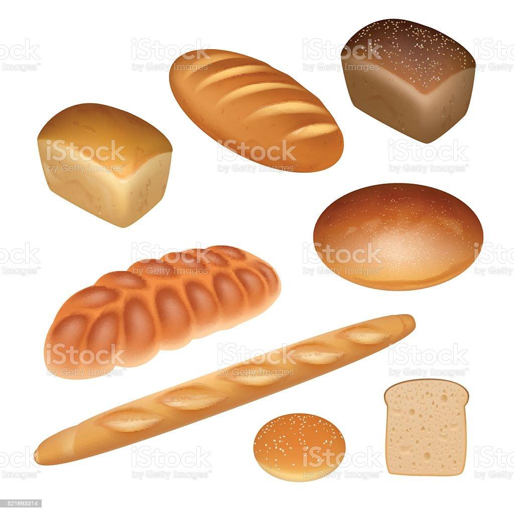 Conjunto de pão - ilustração de arte em vetor