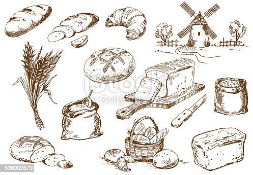Bread set. Pen sketch converted to vectors.