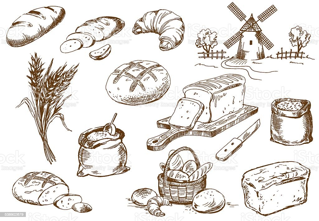 Bread set vector art illustration