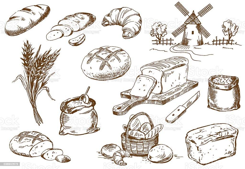 Juego de pan - ilustración de arte vectorial