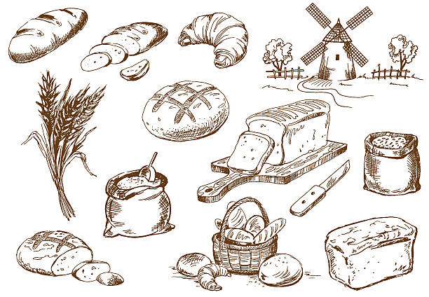 bread set - bakeries stock illustrations, clip art, cartoons, & icons