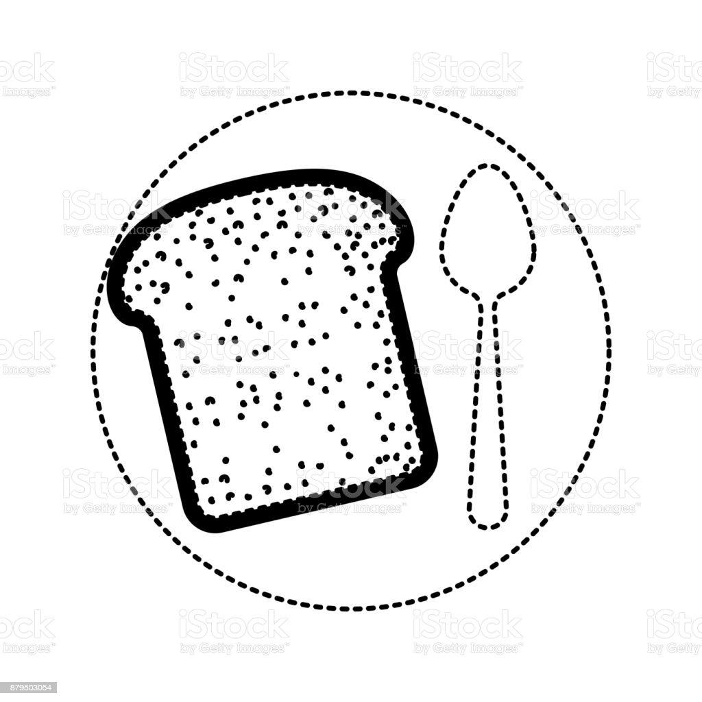 fatia de pão com uma colher no prato em silhueta pontilhado preto sobre fundo branco - ilustração de arte em vetor