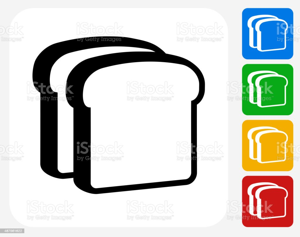 Bread Slices Icon Flat Graphic Design向量藝術插圖