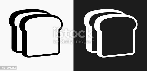 istock Bread Slices Icon on Black and White Vector Backgrounds 691558262