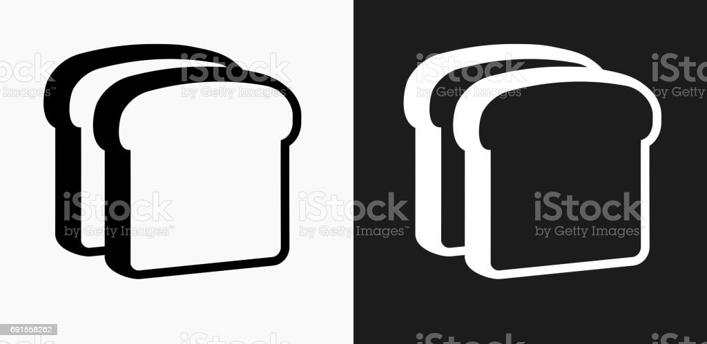 Bread Slices Icon on Black and White Vector Backgrounds vector art illustration