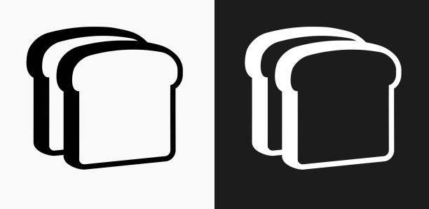 Bread Slices Icon on Black and White Vector Backgrounds Bread Slices Icon on Black and White Vector Backgrounds. This vector illustration includes two variations of the icon one in black on a light background on the left and another version in white on a dark background positioned on the right. The vector icon is simple yet elegant and can be used in a variety of ways including website or mobile application icon. This royalty free image is 100% vector based and all design elements can be scaled to any size. bread icons stock illustrations
